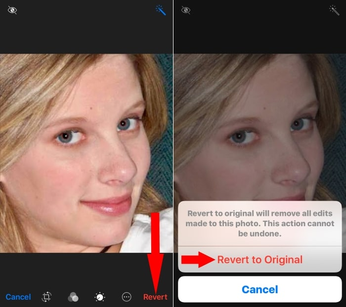 4 Revert Changes to original after edit photo on iPhone
