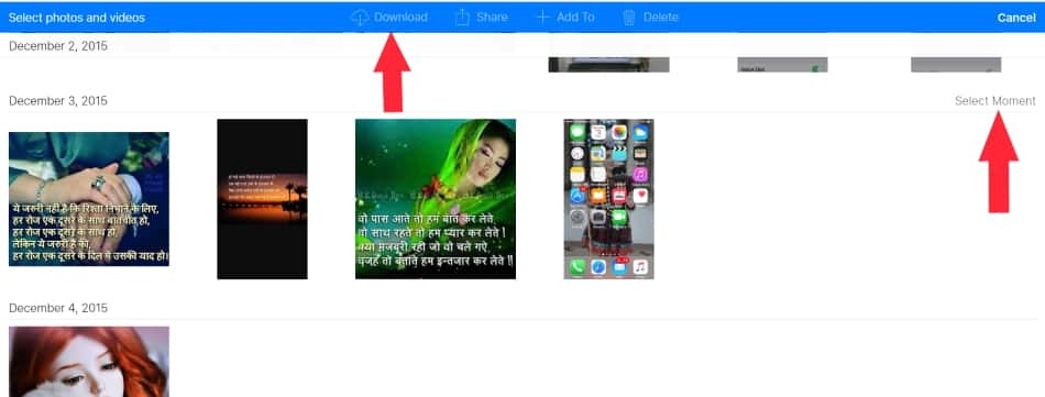 4 Select moment and download whole photo album on iPhone