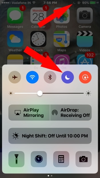 5 Enable DND from control center