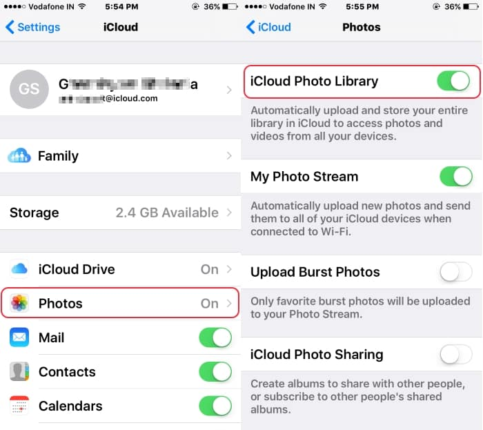 5 Enable iCloud Photo library on iPhone