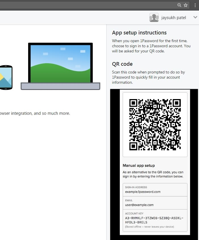 7 Scan QR code to your iOS device from 1Password Web account