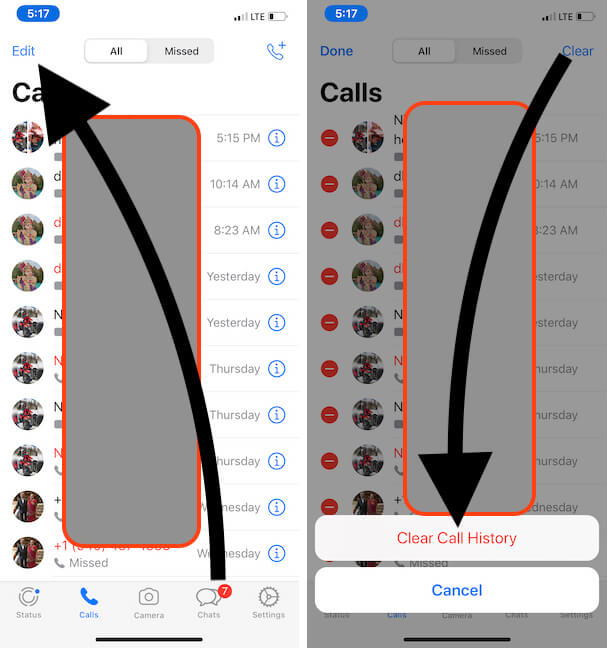 Clear All Call History on WhatsApp iPhone