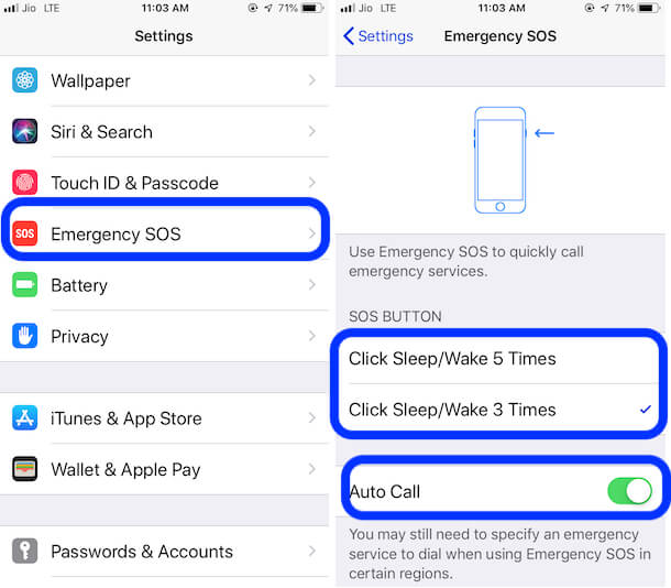 Emergency SOS on iPhone 6 and older iPhone model