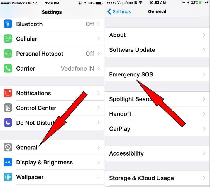 Turn On Emergency SOS iOS 10.2 on iPhone