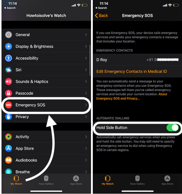 Enable Emergency SOS on Apple Watch