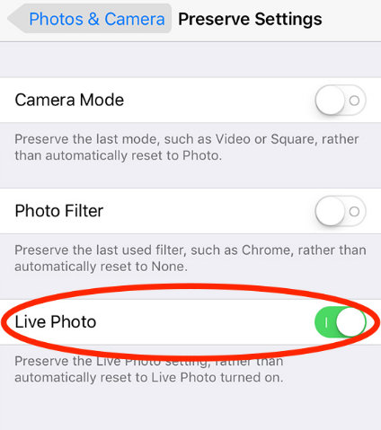 Turn off live Photos permanently on iPhone