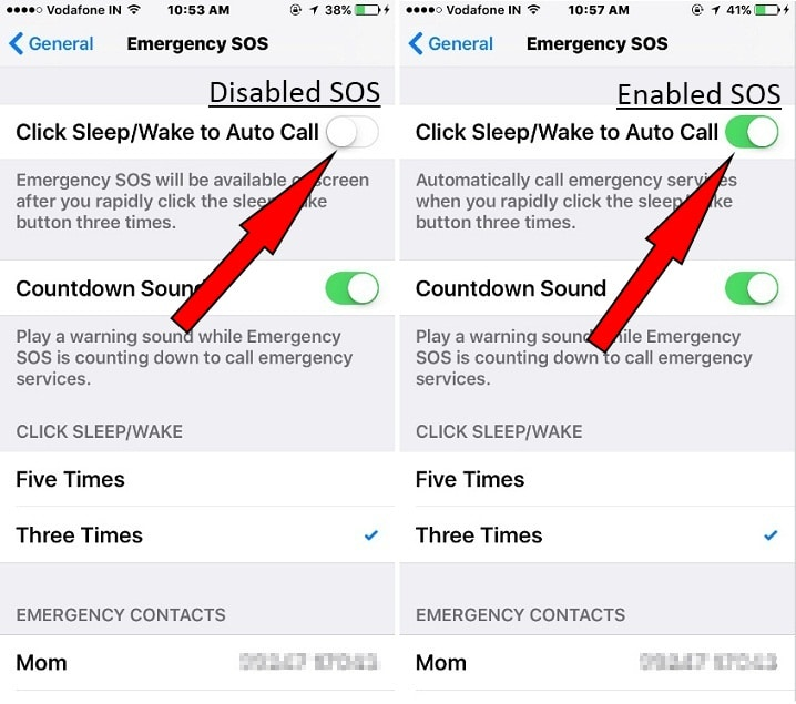 Turn on Use Emergency SOS in iOS 10.2 on iPhone