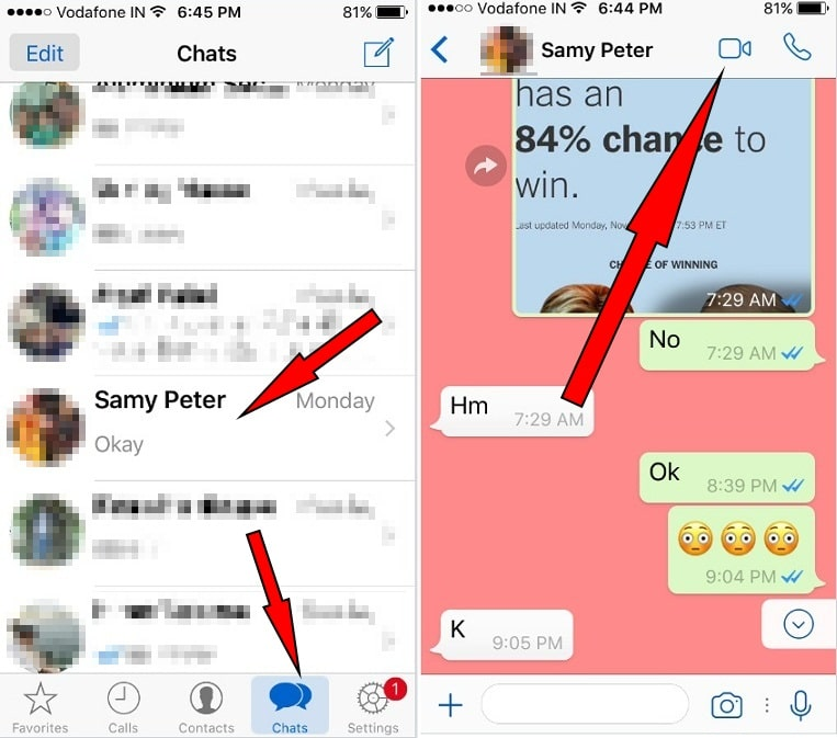 Turn on or enable Whatsapp Video Call on iPhone iOS 10.2