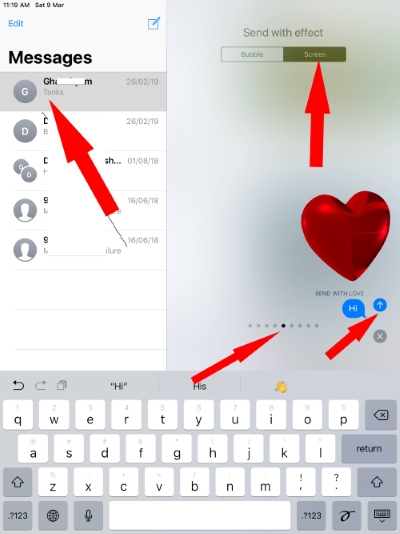 Love Effect on iPad iMessage that Send Heart with text message