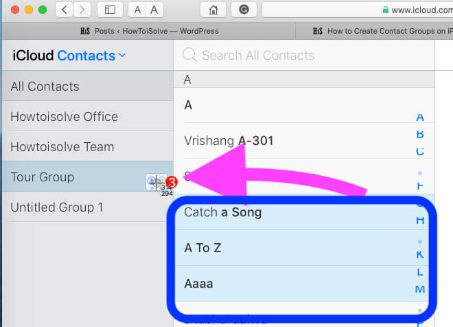 Select Contacts from all and Move in to New Group