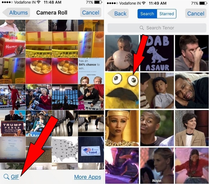 search GIFs picture or choose from starred GIF images iPhone