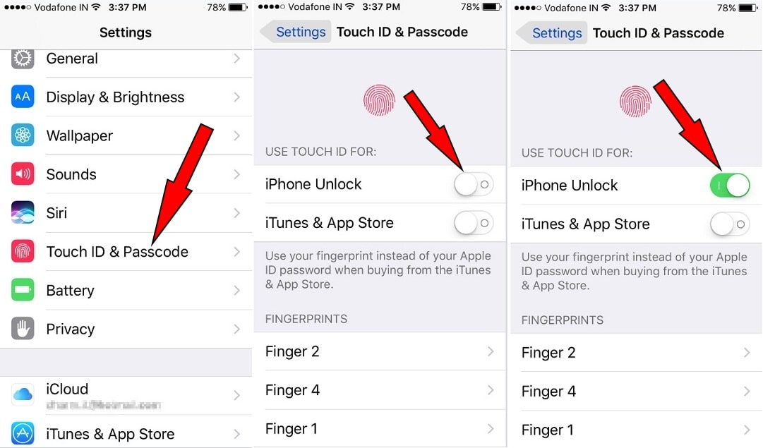 Turn iPhone unlock ON to open iPhone using Touch ID
