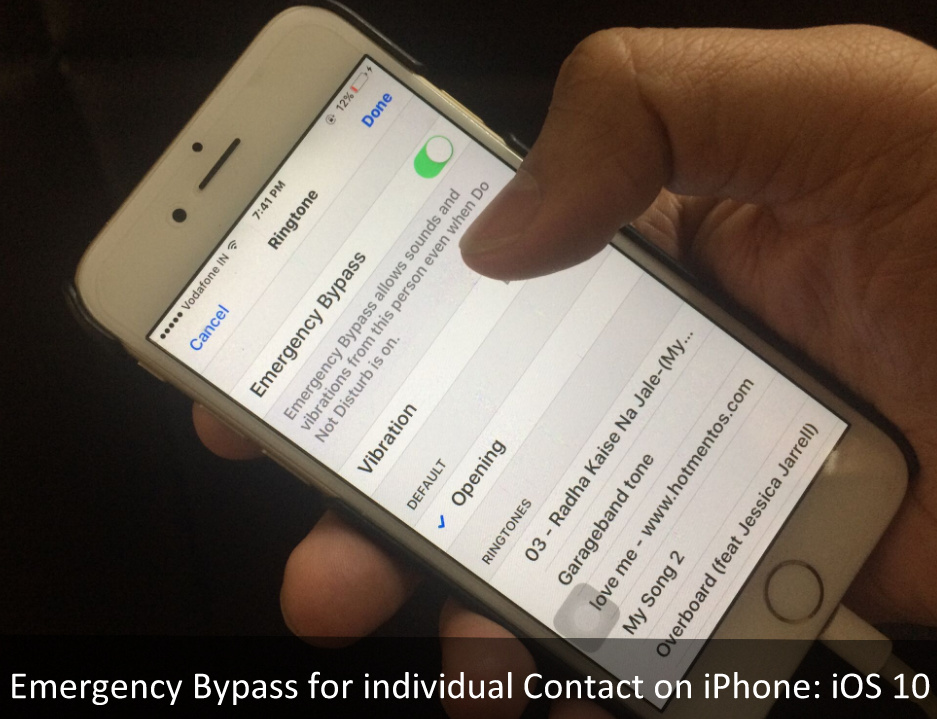 Emergency Bypass for individual Contact in iOS 10.2 on iPhone iPad