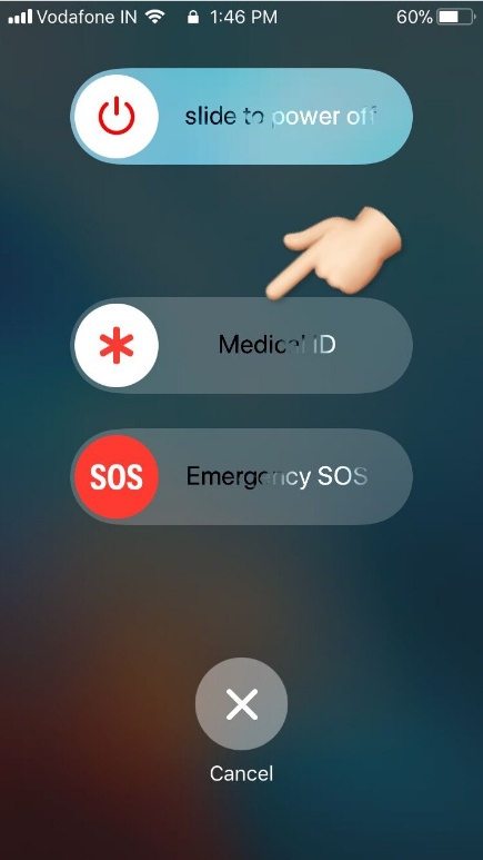press Power button five times to get Medical ID on locked screen on iPhone iOS 11