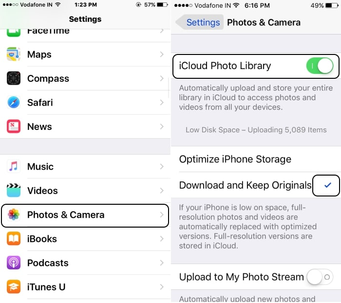 1 Enable iCloud Photo library on iPhone with iOS 10