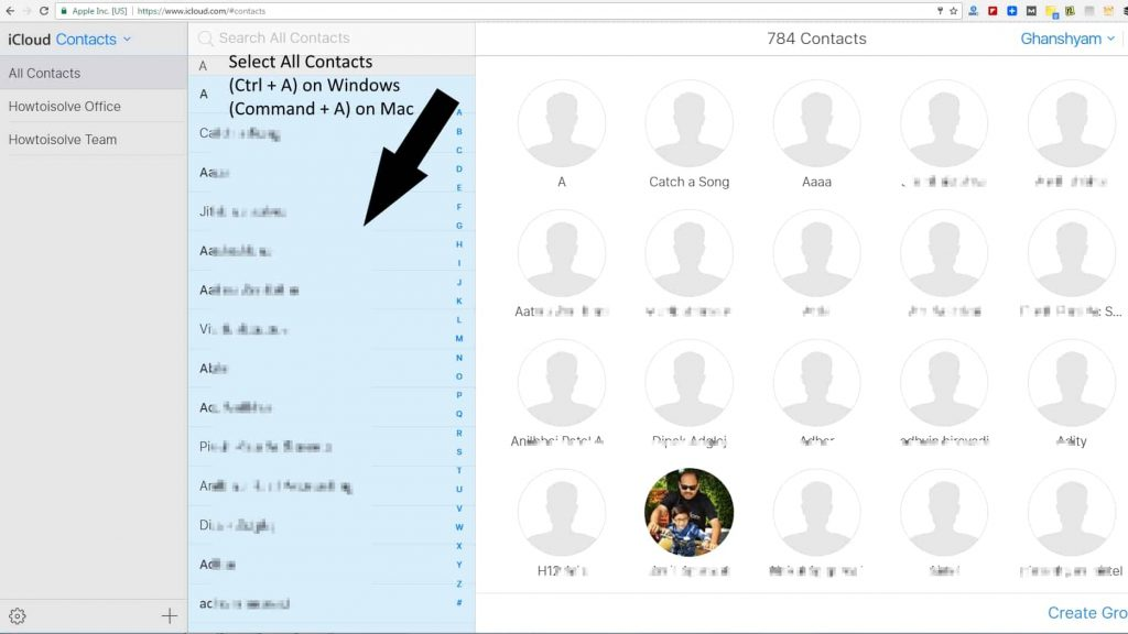 1 Select all contacts in icloud account on Mac or Windows Browser (1)
