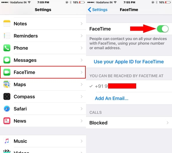 2 Enable FaceTime on iPhone and iPad