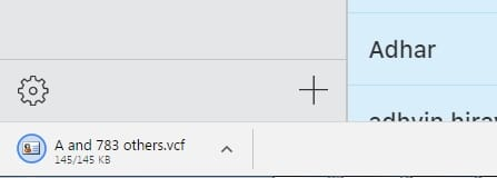 3 Exported Contacts in to Vcard csv file downloaded