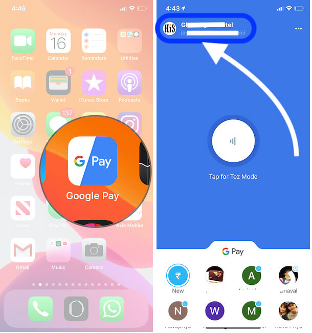 Google pay Settings on iPhone