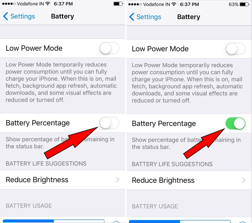 how to show battery percentage on iphone 5 how to show battery percentage on iphone 7 plus ios 10 8209