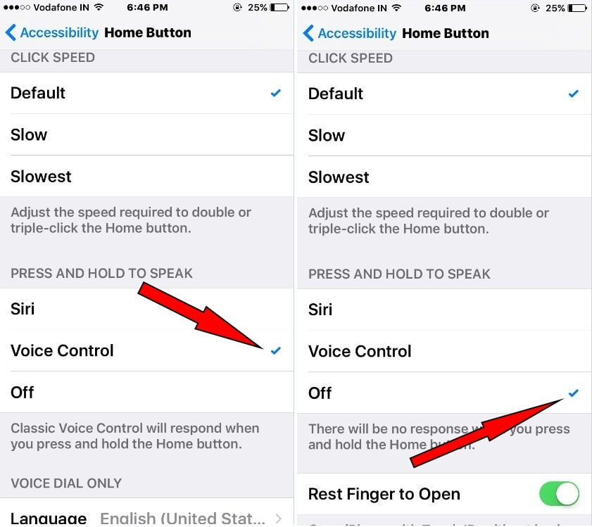 Turn off Home button to stop Siri and Voice Control iPhone iOS 10.2