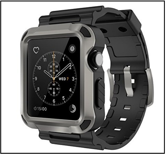 Simpeak Grey Rugged Protective Case for Apple Watch Series 3 and 2