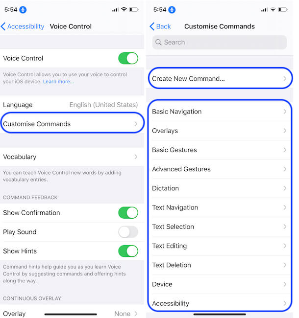 Voice Over Command on iPhone and iPad