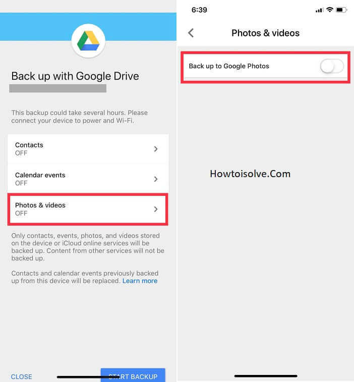 tap on photos and videos and turn toggle back up to google photos