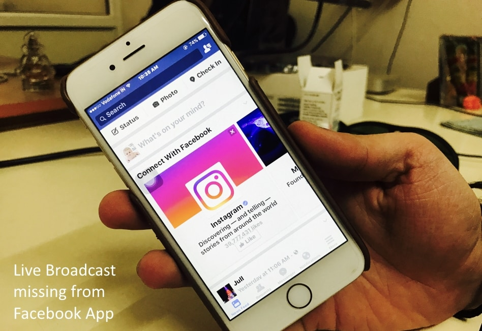 1 Facebook Live video missing from iPhone iPad App