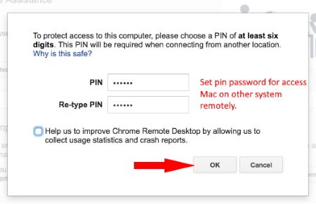 Set pin for access mac using chrome browser