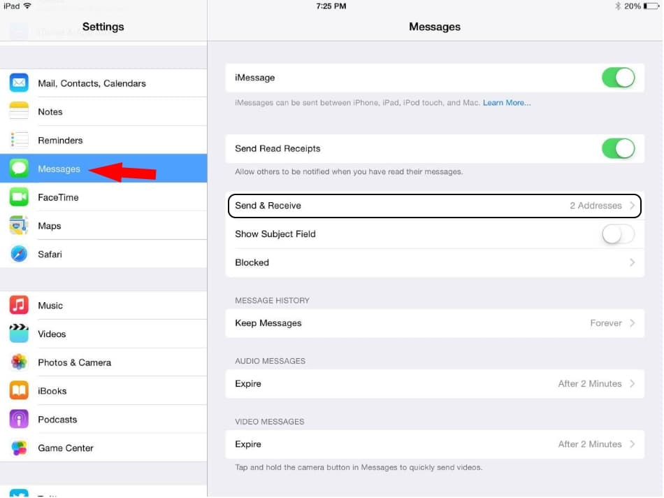 2 Change iMessage Address on iPad