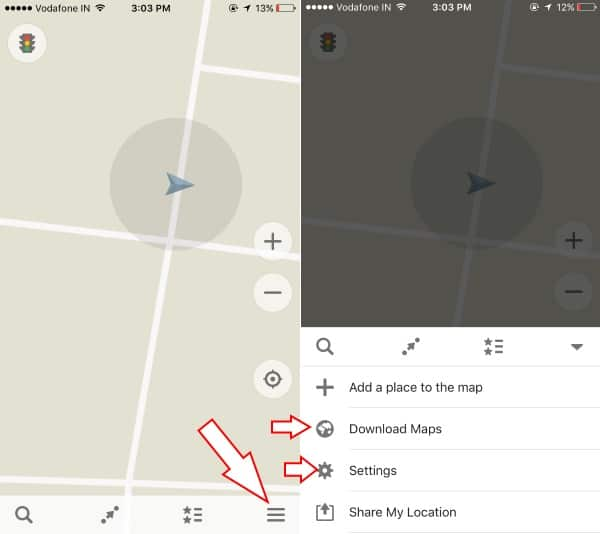 Settings for maps map app on iOS device