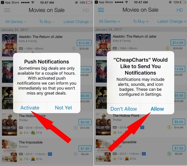 Enable Push notification for get alert on app price drop on iPhone
