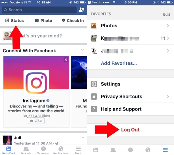 3 Logout Facebook app on iPhone and iPad