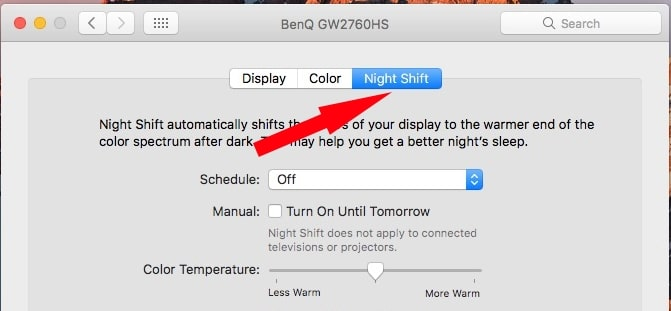 Select Night shift mode under System Preference