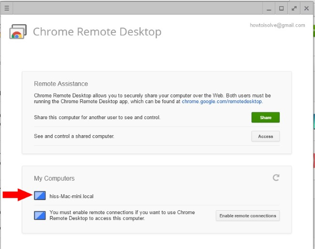 Enable Remote Desktop on Google Chrome Windows