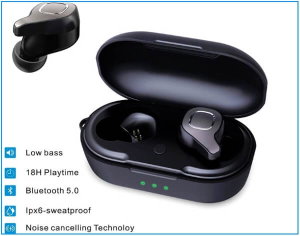 VORCSBINE Auto Pairing Bluetooth 5.0 Headphones with Mic and Charging Case