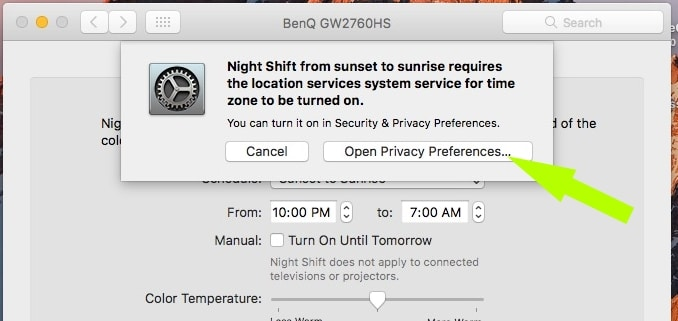 Turn on location service for auto find time on Mac