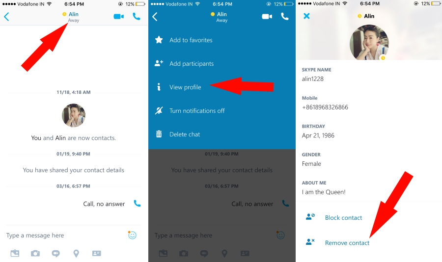 Remove Contact on skype from profile