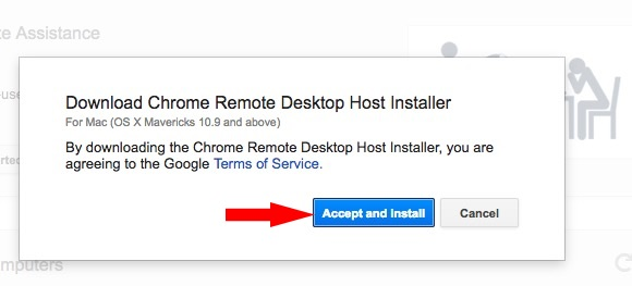 Accept and install Google chrome host installer