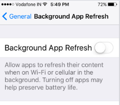 Stop Background App Refresh iOS 10