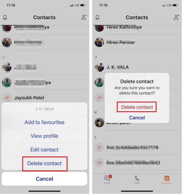 Delete Selected Contact Quickly on iPhone app