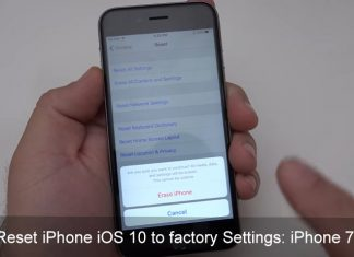 Reset iPhone iOS 10 to factory settings iPhone 7 Plus