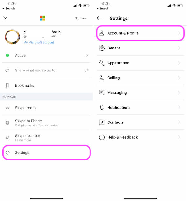 Skype account and profile option on iPhone app