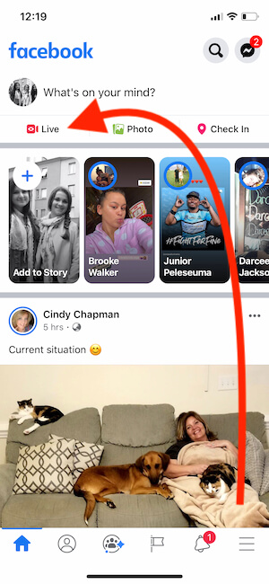 Start Facebook Live on iPhone