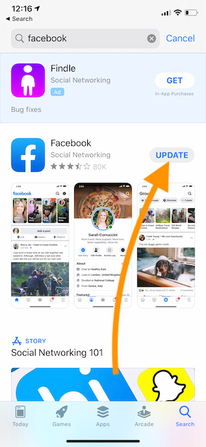 Update Facebook on iPhone