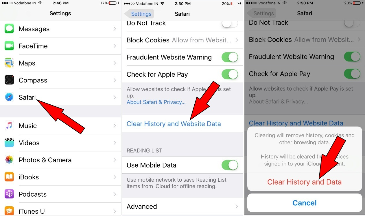 Clear Cache, Cookies, History and Website data for Safari in iOS 10