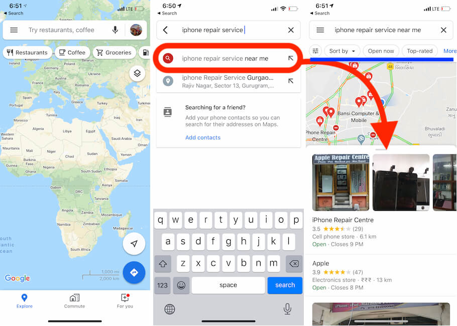 iPhone Repair Service near me by Distance on Map
