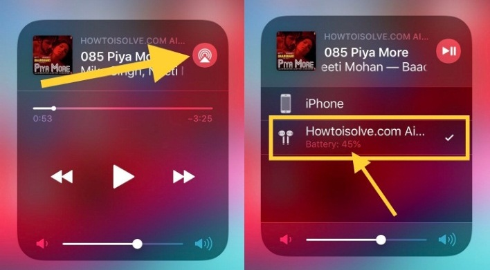 see AirPods battery percentage in iOS 12 control center iphone ipad