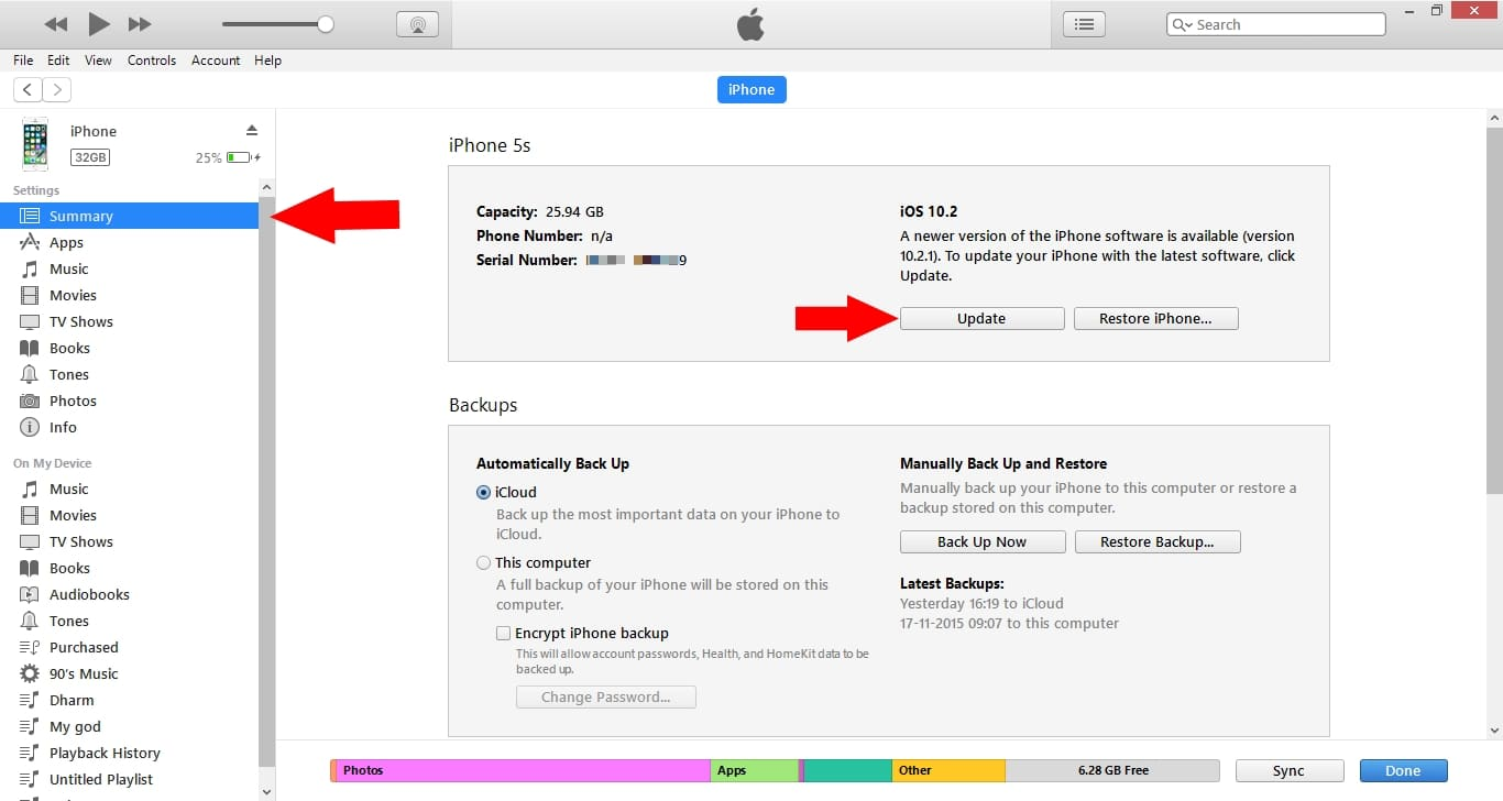 Find update iOS option in iTunes